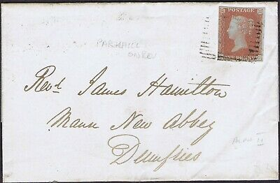 SCOTLAND ROSS-SHIRE 1851 E NICE 1d RED SG8 ALPH II FROM PARKHILL TO DUMFRIES