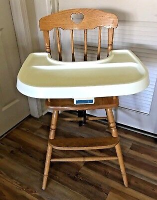 vintage wooden high chair covers yellow fisher price wood baby w plastic tray straps usa youth oak