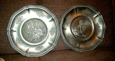 2 pewter collecting plates, very good condition, nice pattern