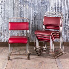 Upholstered Stacking Chairs Glider Chair Cover Red Padded Vintage Dining Cafe Hooked Frame
