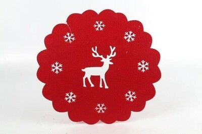feutrine rouge rond flocon de neige renne noel set table ou centre piece eur 2 79 picclick fr