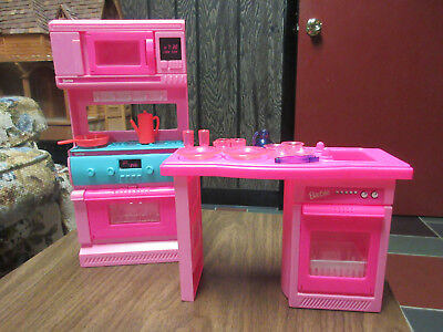 barbie kitchen playset freestanding sink vintage and accessories oven stove dishwasher
