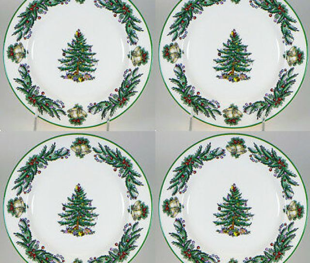 Spode Christmas Tree Garland   Dinner Plates Set Of  New With Tag
