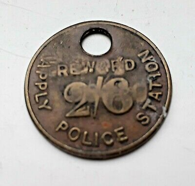 Vintage 1940's Police Station Reward 2/6 Token Serial Number Sale Birmingham