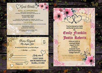 Country Rustic Pink Wedding Invitations Heart With Guest Rsvp Response Cards