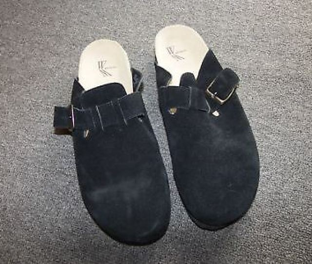White Mt Mountain Suede Leather Clogs 11 M Black Shoes