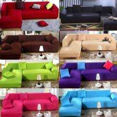 Fabric For Sofa Covers Uk Multi Color Slipcovers Universal Stretch Elastic Cover Sectional Corner L Shape Couch Pet