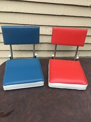 fishing chair clamps office task vintage boat seats stadium blue bleacher folding with 2 removable w