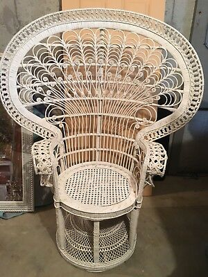 vintage peacock chair throw overs for chairs wicker high fan back victorian shabby chic white rattan