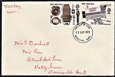Gb 1972 Plain First Day Cover Bbc & Broadcasting History Sg910 & 912