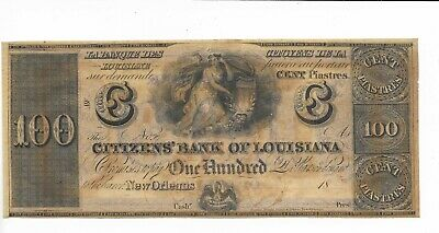 Note Louisiane Neuf Orleans Citoyens Banque 18XX unissued Plate C Violet Rev