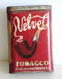 Vintage Velvet pocket tobacco tin antique pipe cigarette