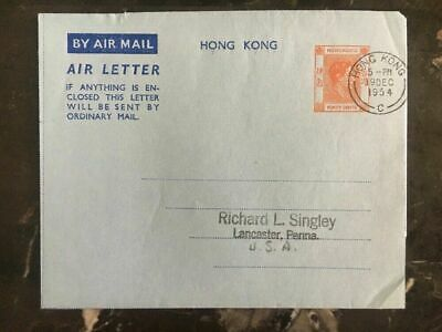 1954 Hong Kong Air letter Cover To Lancaster Pa USA Philatelist Closed Mail