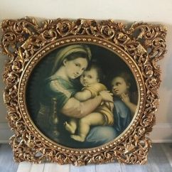 Madonna Of The Chair Wooden Folding Glorious Large Vintage Nuns Convent Wood Framed By Raphael