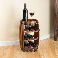 WOODEN BARREL WINE Rack Wood Bottle Holder Table Top 8 ...