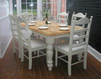 SHABBY CHIC 6ft DINING TABLE AND 6 CHAIRS - FARROW & BALL ...
