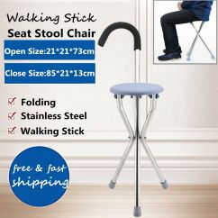 Walking Stick Seat Stool Chair Kids Craft Table And Chairs Outdoor Travel Folding Cane Portable Tripod