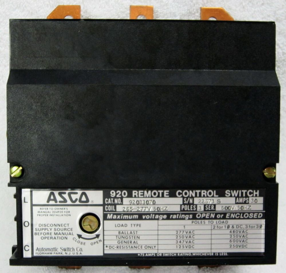 medium resolution of  asco 920 new 33060 3 pole lighting contactor 30 amp feeder circuits asco contactor wiring diagram