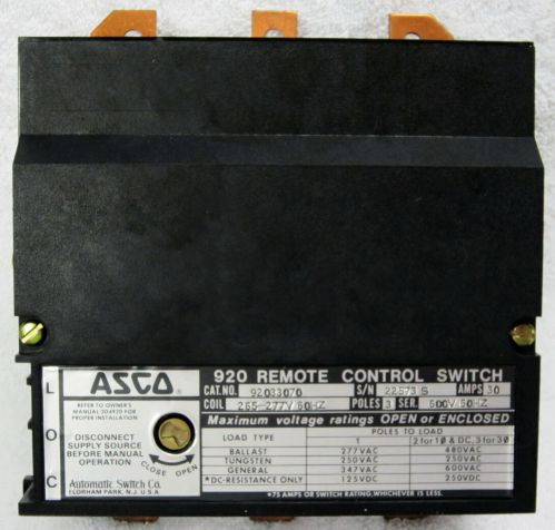 small resolution of  asco 920 new 33060 3 pole lighting contactor 30 amp feeder circuits asco contactor wiring diagram