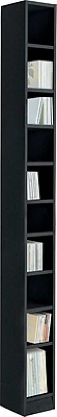 Black Tall DVD Rack Storage Tower Wooden CD Unit Cabinet ...
