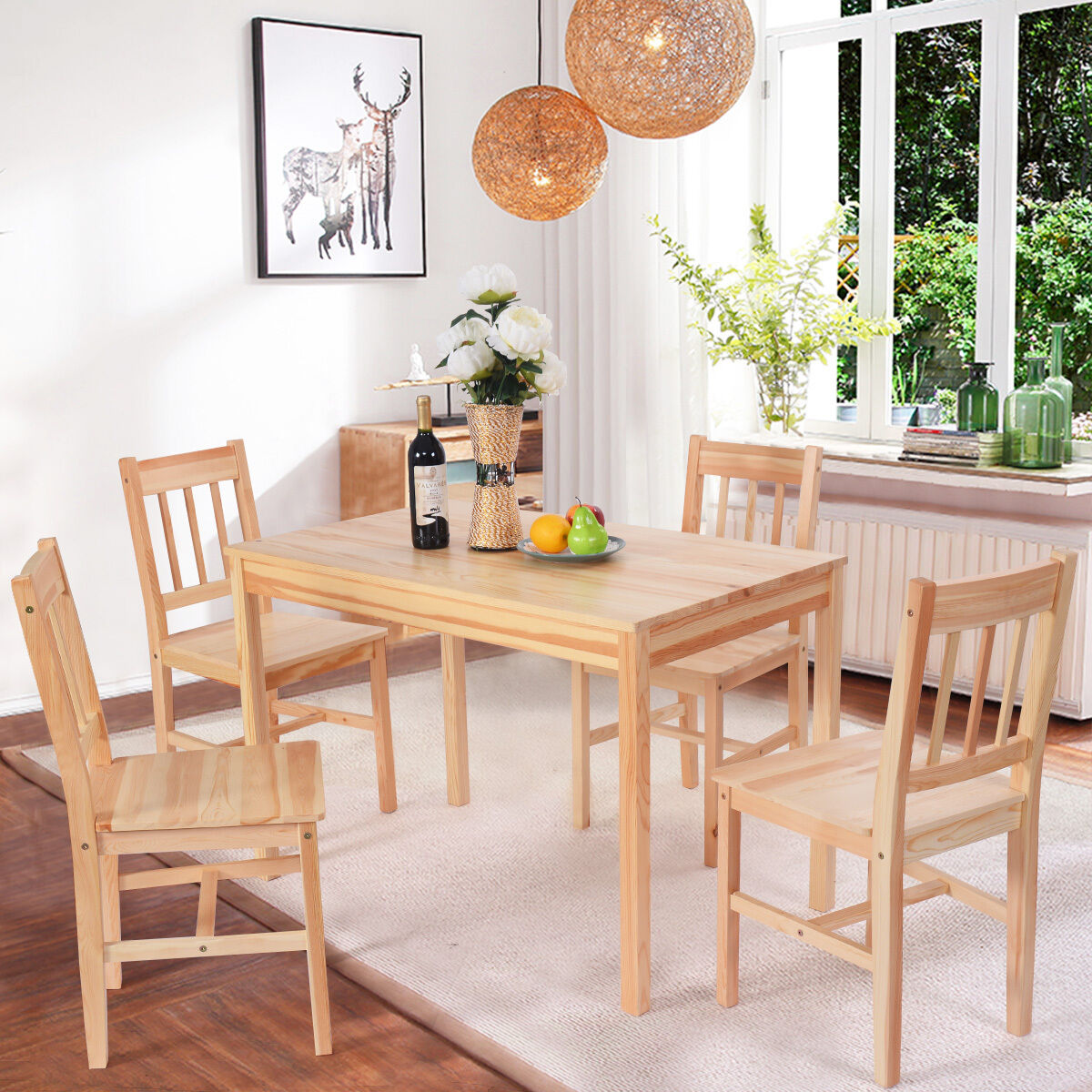 solid wood kitchen chairs wedding chair cover hire milton keynes wooden pine dining table and 4 set