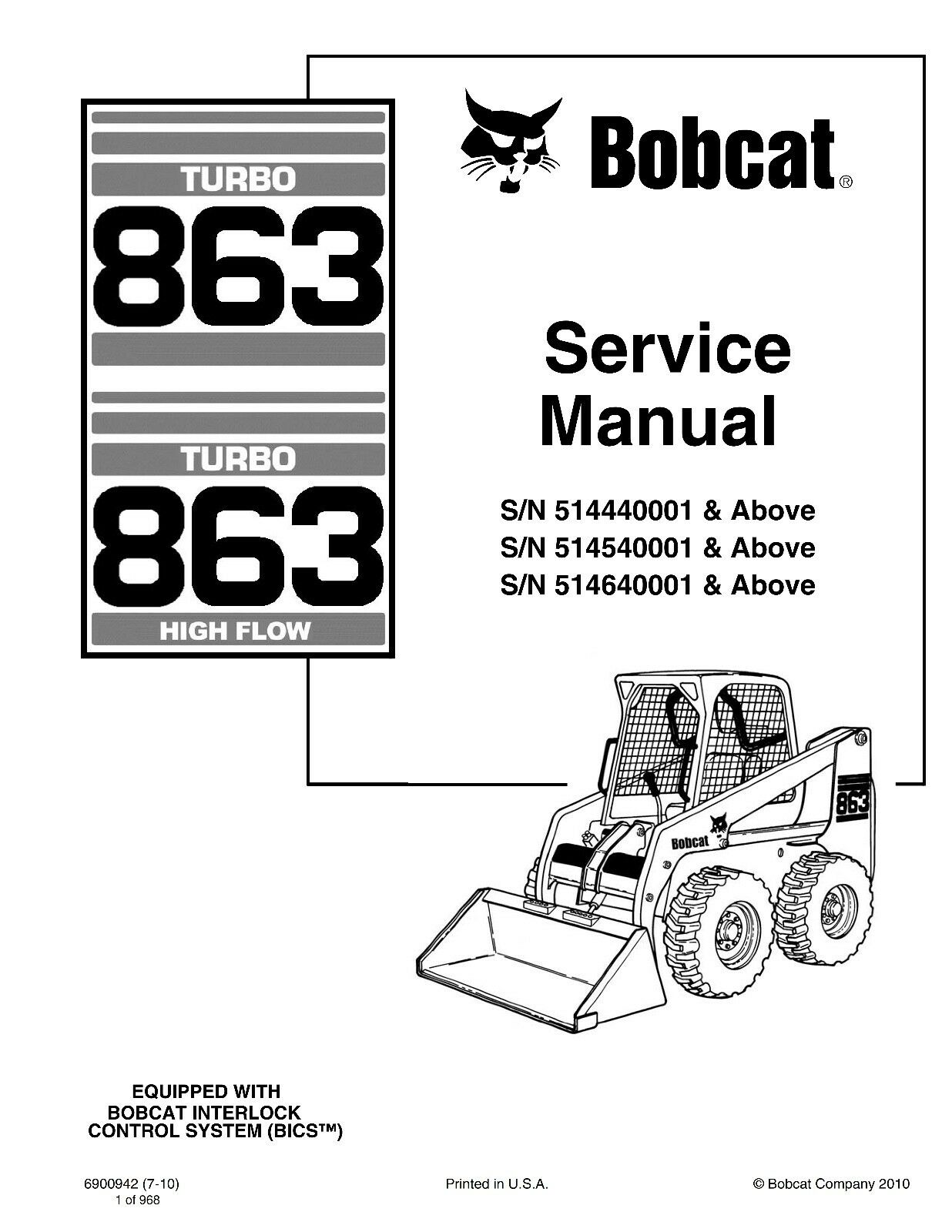 Bobcat 751 753 763 773 Includes H Series For 753 Service