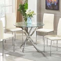 Round Table And Chair Set Pride Electric Lift Glass Dining 4 Chairs Modern Chrome