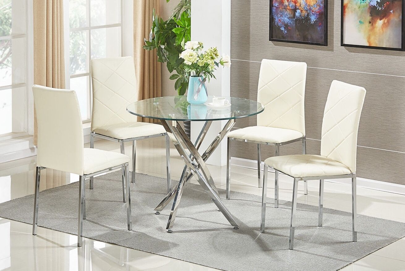 round glass dining table and chairs allsteel acuity chair set 4 modern chrome