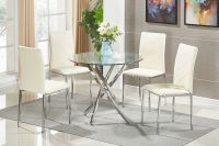 GLASS Round Dining Table Set and 4 Chairs Modern Chrome ...