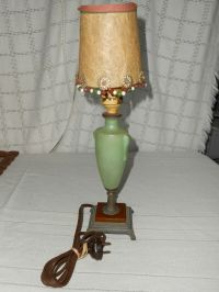 VINTAGE FROSTED green glass table lamp brass/bronze base ...