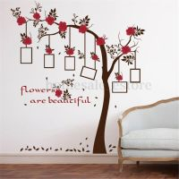Removable Red Flower Photo Frame Tree Wall Decal Sticker