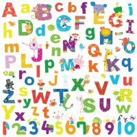 ALPHABET LAZOO LETTERS 72 Wall Decals School Numbers ABC ...