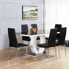 White High Gloss Dining Table 6 Chairs How To Lift A Chair Trick Giovani Black Glass Set And