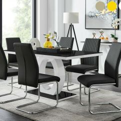 White High Gloss Dining Table 6 Chairs Ace Adirondack Giovani Black Glass Set And