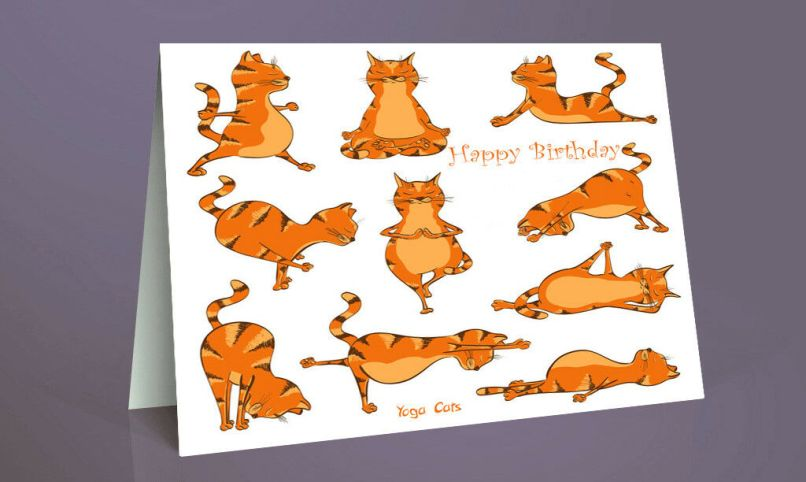Handmade Yoga Exercise Gym Kittens Cats Happy Birthday Card A5 Blank