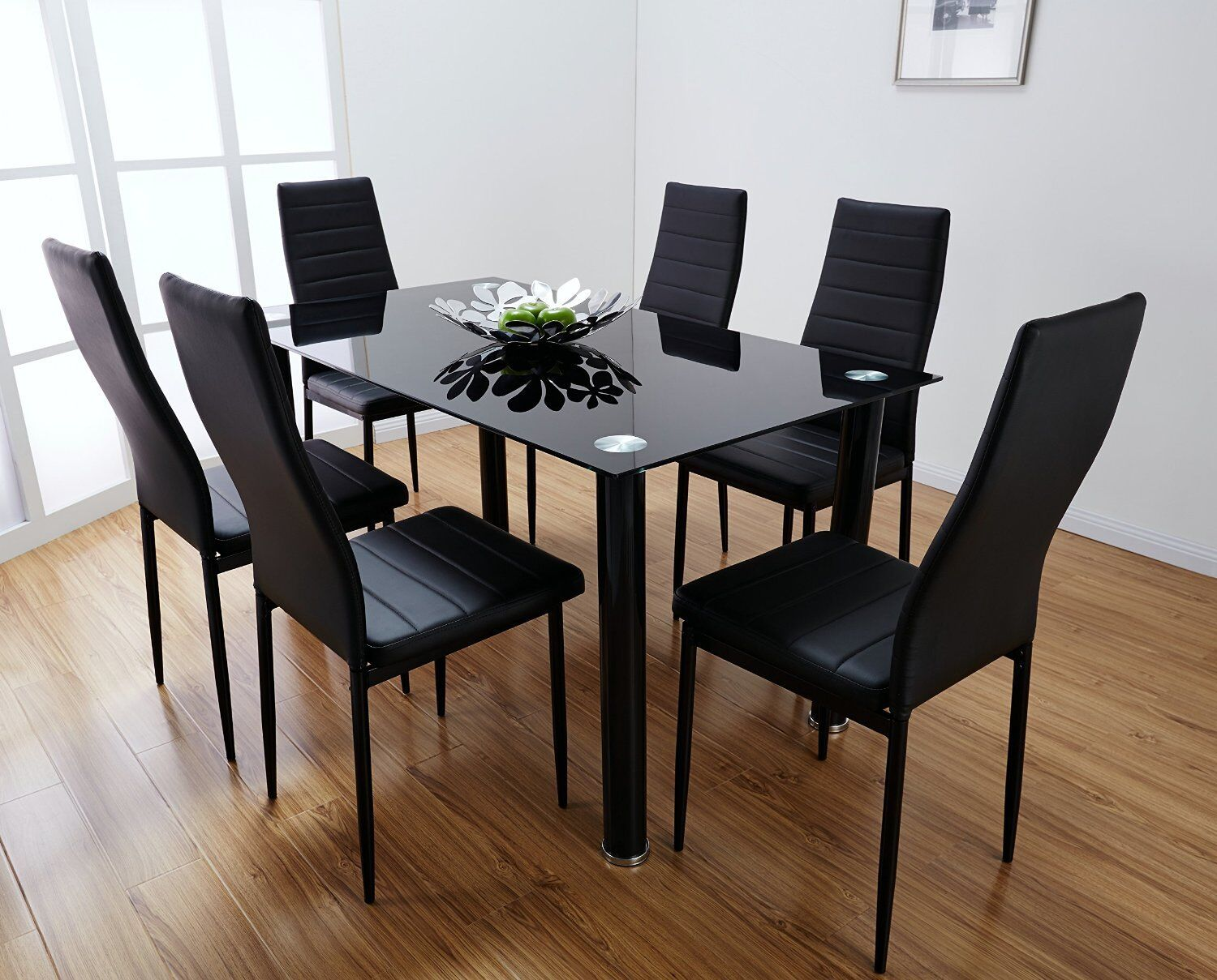 black dining sets with 6 chairs regency mahogany lunar rectangle glass table set and faux