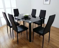 Lunar Rectangle Glass Dining Table Set and 6 Black Faux ...