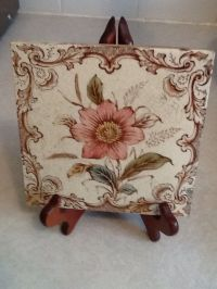 Antique Floral Ceramic Tile.  7.80 - PicClick UK