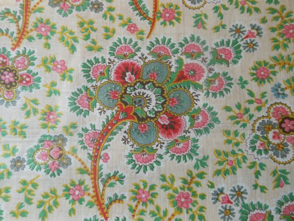 Antique English Jacobean Floral Paisley Chintz Fabric Red