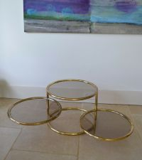 A VINTAGE BRASS Circular Glass Coffee Lamp Low Side Sofa ...