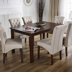 Solid Oak Dining Table And Chairs Diy Wood Chair Cushion In Dark 43 6 Deluxe