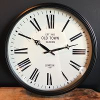 LARGE LONDON OLD Town Vintage Round Wall Clock, Black