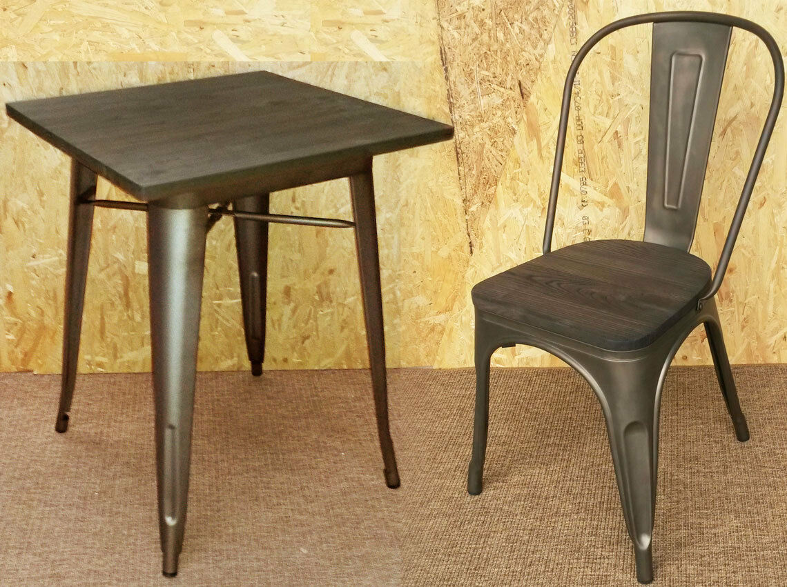 retro cafe table and chairs your zone flip chair canada new tolix tarnished metal tables wooden seat