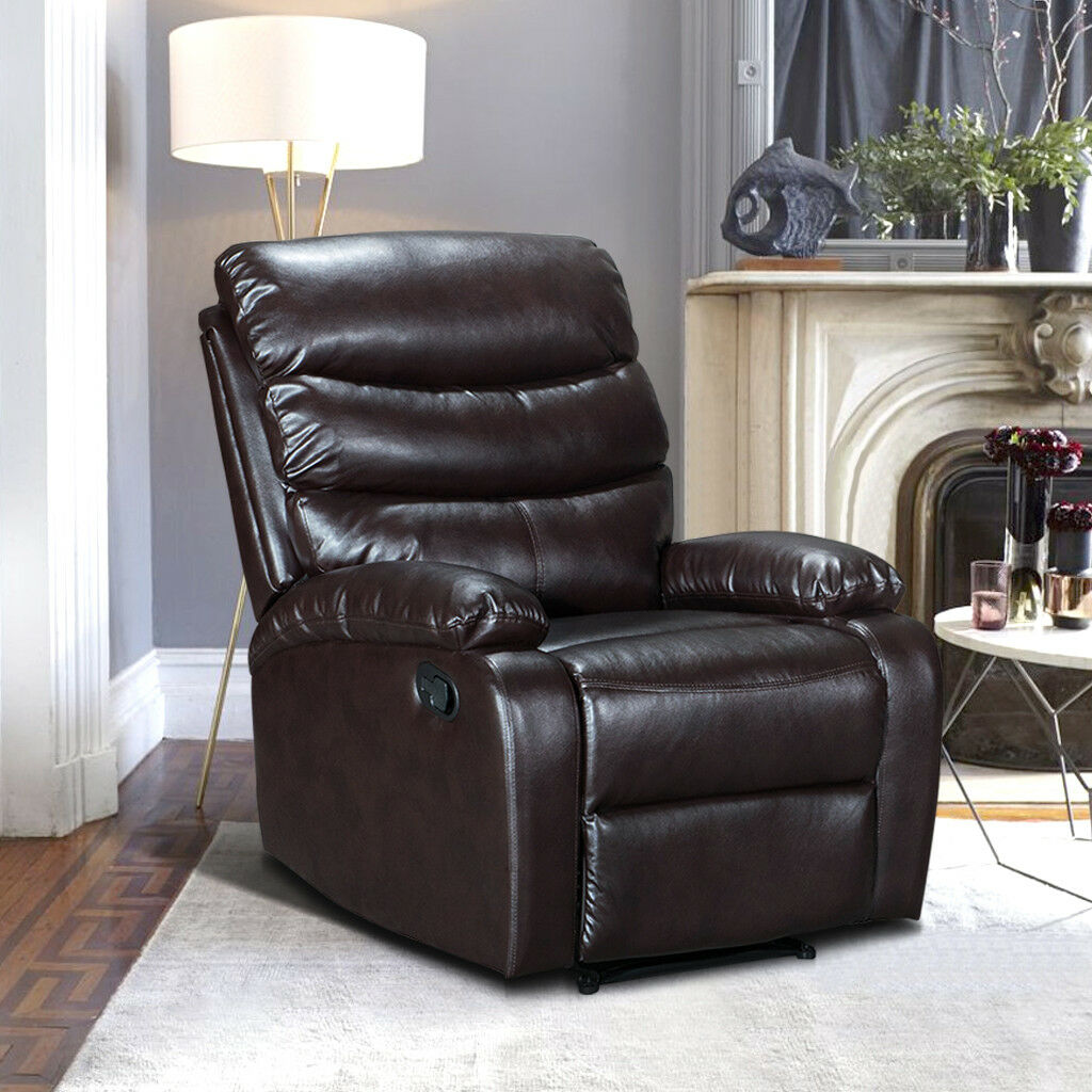 brooklyn bonded leather lounger chair and ottoman hanging outdoor chairs uk luxury match upholstered recliner armchair