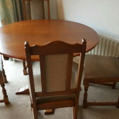Solid Oak Dining Table And Chairs Folding Sling Chair Canada 4 50 00 Picclick Uk