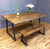 Industrial Dining Table Rustic Solid Antique Kitchen