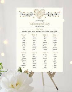 Hearts wedding table plan seating sign chart white or ivory background of free shipping also rh picclick
