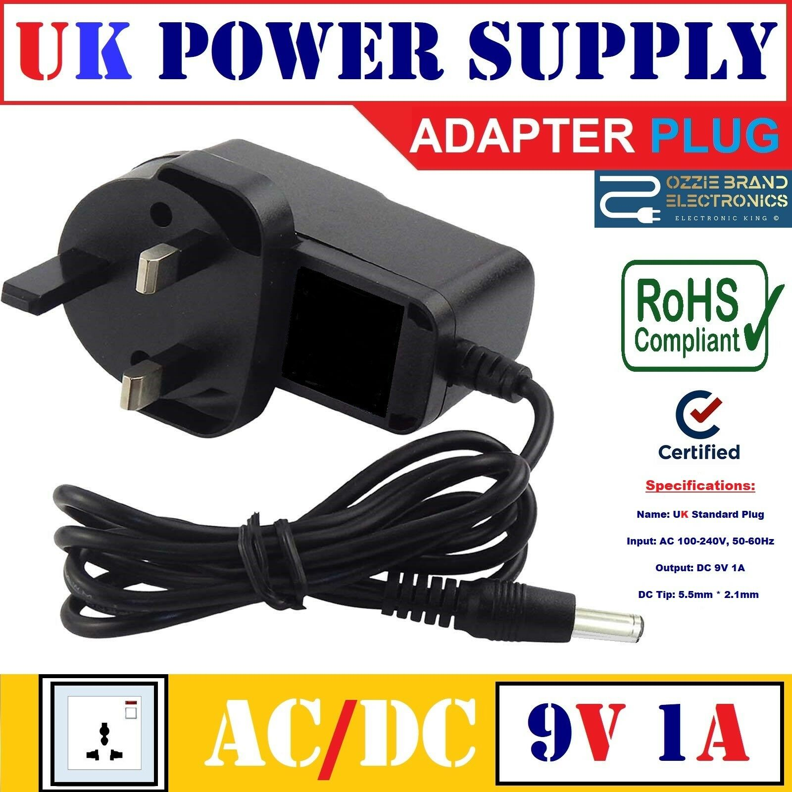 x rocker gaming chair power cord rosewood chairs nz uk 9v 1a ac dc supply adapter for compatible