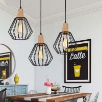 WOOD Pendant Light Modern Ceiling Lights Black Lamp ...