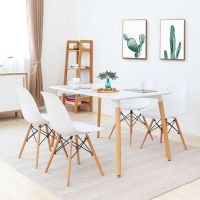 White Rectangle Dining Table and Chairs Set Plastic Lounge ...